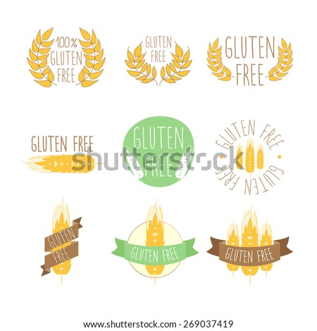 Collection of gluten free seals. Various colorful designs, can be used as stamps, seals, badges, for packaging etc. - stock vector