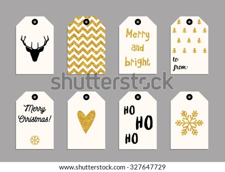 Collection of gold texture Christmas and New Year cute ready-to-use gift tags - stock vector