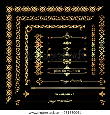 Collection of gold vintage calligraphic design elements, page decoration, frames and borders - stock vector