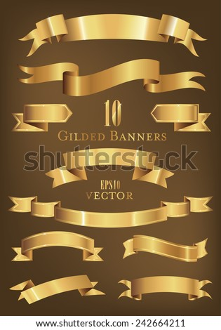 Collection of 10 golden banners vector illustration.  - stock vector