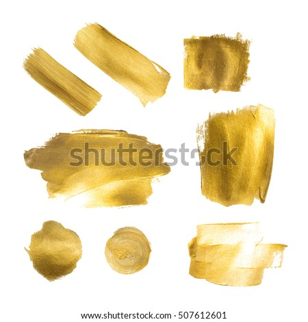 collection of golden paint strokes to make a background for your design golden hot foil