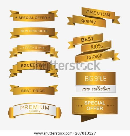 Collection of golden premium promo banners. isolated vector illustration - stock vector