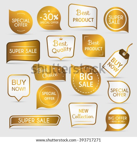 Collection of golden premium promo seals/stickers. Isolated vector illustration. - stock vector