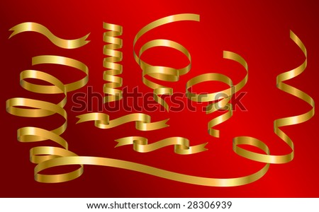 Collection of golden ribbon. Vector illustration - stock vector