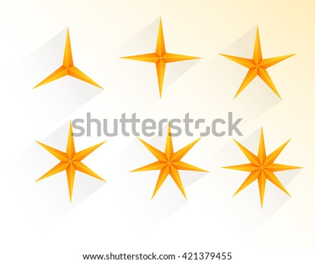 Collection of golden stars with 3 to 8 points - stock vector