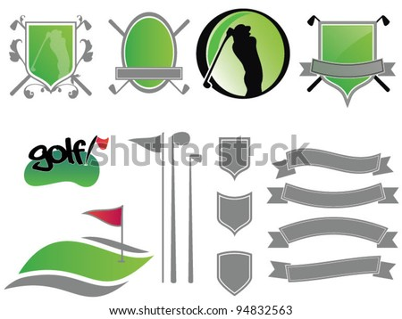 Collection of golf ribbons, labels, badges and icons