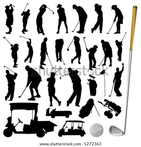 collection of golf vector - stock vector