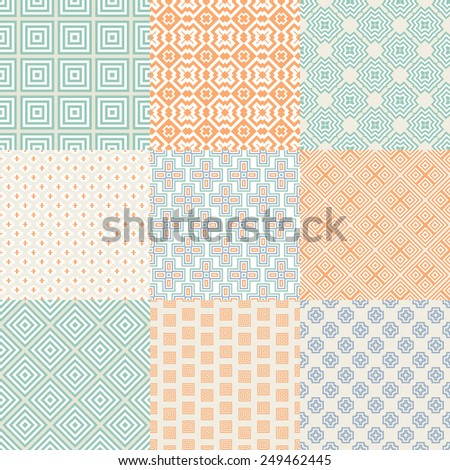 Collection of graphical vector seamless patterns. Abstract geometric wallpapers. Ornamental decorative background for cards, invitations, web design.  - stock vector