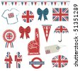 collection of great britain supporter clip art isolated on white - stock vector