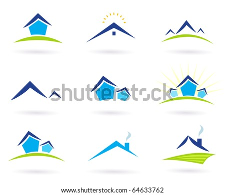 Collection of green and blue real estate icons. Vector Illustration. - stock vector