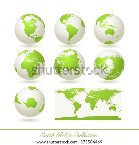 Collection of green earth globes isolated on white.  illustration.