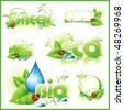 Collection of green eco-icons. Vector illustration. - stock vector