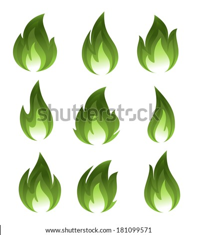 Collection of green fire icons - stock vector