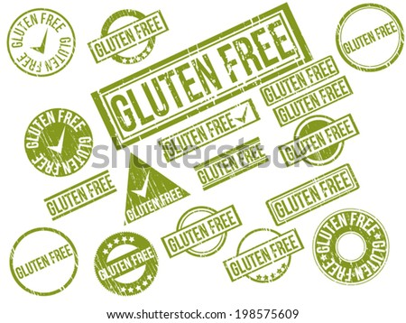 "Collection of 18 green grunge rubber stamps with text ""GLUTEN FREE"" . Vector illustration - stock vector"