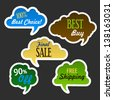 Collection of green sale discount website cloud banners. Image contains transparency in shadows - you can put it on every surface. 10 EPS - stock vector