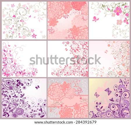 Collection of greeting beautiful floral cards - stock vector