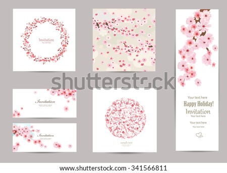collection of greeting cards with a blossom sakura for your design. seamless texture with japanese floral pattern - stock vector