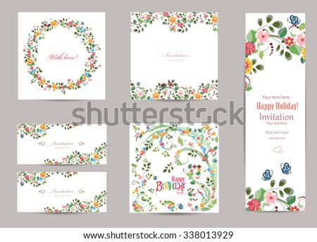 collection of greeting cards with cute flora for your design - stock vector