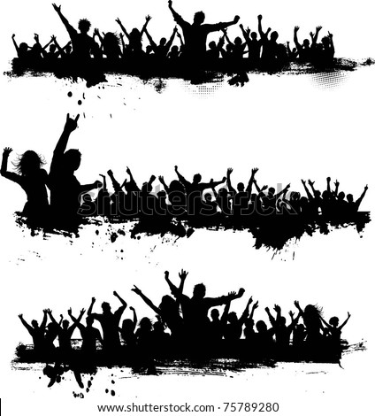 Collection of grunge crowd scenes - stock vector