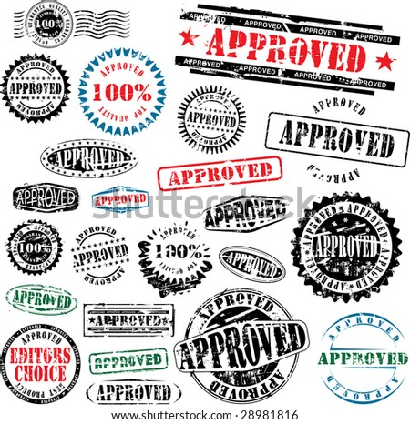 Collection of grunge office rubber stamps with word approved. See other rubber stamps in my portfolio. - stock vector