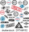 Collection of grunge rubber stamps about swine flu. See other rubber stamp collections in my portfolio. - stock photo