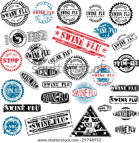 Collection of grunge rubber stamps about swine flu. See other rubber stamp collections in my portfolio. - stock vector