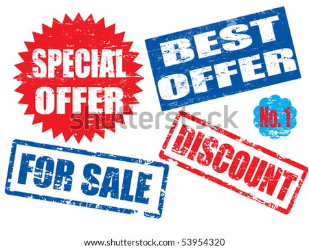 collection of grunge rubber stamps with the text  special offer, best offer,for sale, discount and no.1 written inside the stamps - stock vector