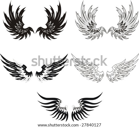 Collection of grunge wings