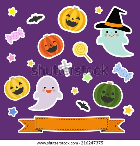 Collection of halloween elements in sticker style / Vector EPS 10 illustration  - stock vector