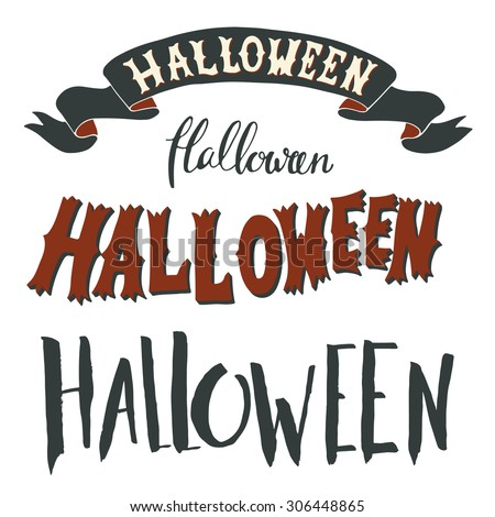 Collection of Halloween hand lettering isolated on white background.  - stock vector