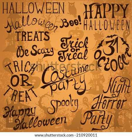Collection of Halloween hand typography designs