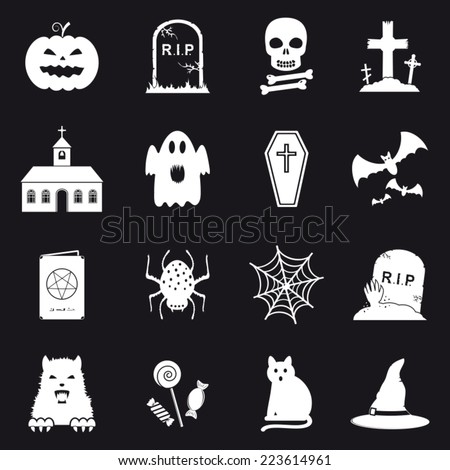 Collection of 16 Halloween icons - stock vector