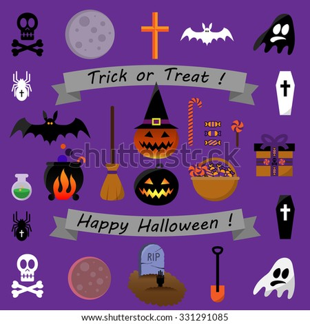 Collection of Halloween icons - ribbons, flat icons, cute Halloween characters - stock vector