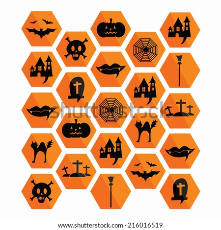 Collection of halloween icons. Vector illustration. - stock vector
