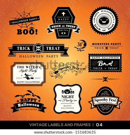 Collection of Halloween Labels and frames with retro vintage styled design - stock vector