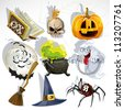 Collection of Halloween related objects and creatures - stock vector