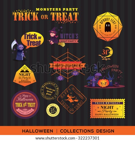 Collection of Halloween symbols Labels and frames with retro vintage styled design - stock vector