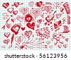 collection of hand draw hearts - stock photo