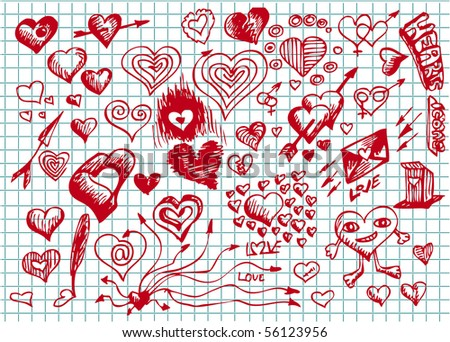 collection of hand draw hearts - stock vector