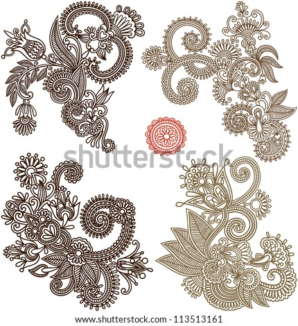 collection of hand draw line art ornate flower design. Ukrainian traditional style - stock vector