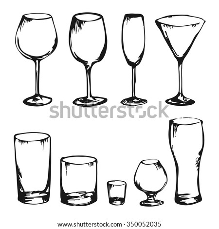 Collection of hand drawing vector drinks and glasses. Alcohol glasses. Wine, whiskey, champagne, vodka, cocktail, cognac. Sketch of different king of glasses. Set of stem ware and drink ware. - stock vector