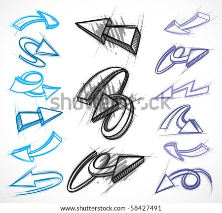 Collection of hand drawn arrows. Vector illustrations - stock vector
