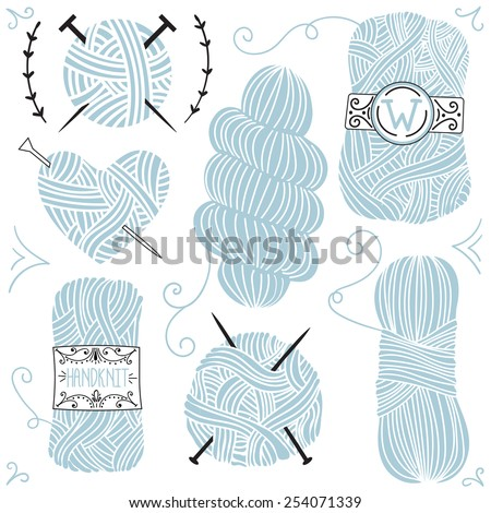 Collection of hand drawn balls of yarn for knitting and decor elements. Vector background. - stock vector