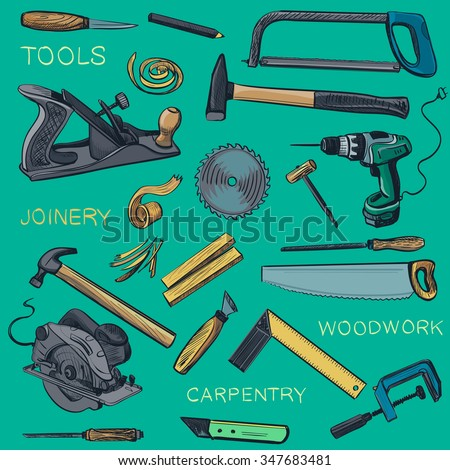Collection of hand drawn Carpentry, woodworker, joinery icons. Craft Woodwork Screwdriver Table Hamme, Carpenter. - stock vector