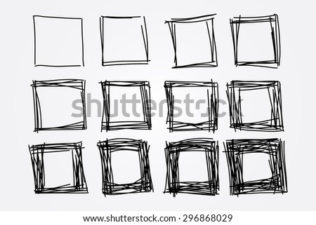 collection of hand drawn doodle squares, vector design elements - stock vector