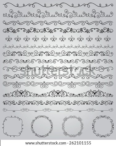 Collection of Hand Drawn Doodle Vintage Borders and Frames. Design Elements. Vector Illustration with Pattern Brushes  - stock vector