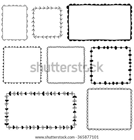 Collection of hand drawn frames - stock vector