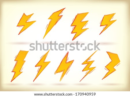 Collection of hand drawn high voltage signs - stock vector