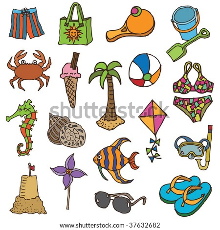 collection of hand drawn holiday objects - stock vector