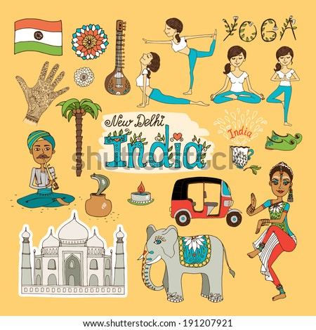 Collection of hand-drawn India Landmarks with the flag  dancer  yoga poses  snake charmer  tuc tuc   mehndi hand decoration  elephant and Taj Mahal